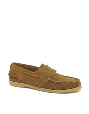 Image 1 ofASOS Fringe Boat Shoes With Crepe Sole