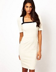 Hybrid Dress with Square Neck and Button Detail