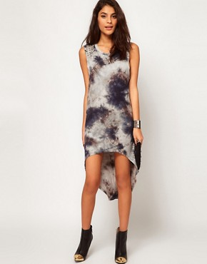 Image 1 ofGlamorous Hi Lo Dress in Tie Dye with Studded Shoulder