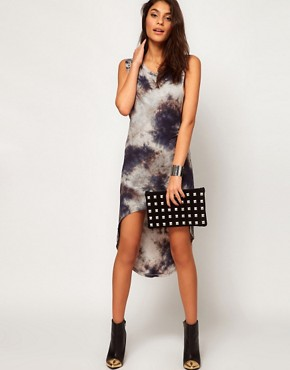 Image 4 ofGlamorous Hi Lo Dress in Tie Dye with Studded Shoulder