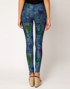 Image 2 ofASOS Skinny Jeans in Linear Floral Print #4