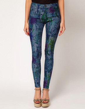 Image 1 ofASOS Skinny Jeans in Linear Floral Print #4