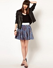 Eleven Paris African Print Skirt with Contrast Waistband