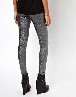 Image 2 ofASOS Leggings in Holographic Print