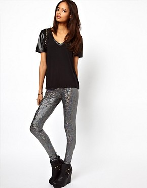 Image 1 ofASOS Leggings in Holographic Print