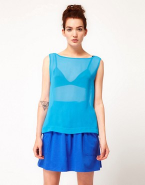 Image 1 ofAmerican Apparel Chiffon Tank Top