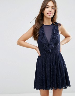 ASOS Ruffle Front Lace Mini Skater Dress