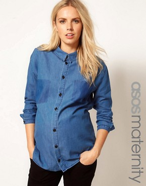 Image 1 ofASOS Maternity Boyfriend Shirt With Shadow Pocket