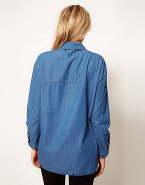 Image 2 ofASOS Maternity Boyfriend Shirt With Shadow Pocket
