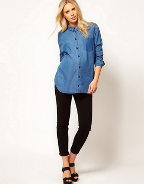 Image 4 ofASOS Maternity Boyfriend Shirt With Shadow Pocket