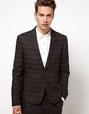 ASOS Slim Fit Suit Jacket in Herringbone Check