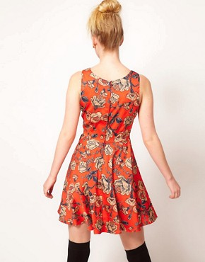 Image 2 ofMinkpink &#39;Inked&#39; Rose Print Skater Dress