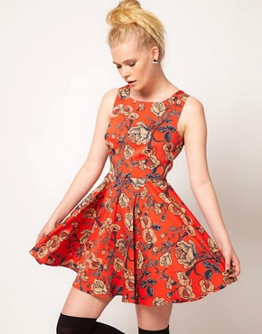 Image 1 ofMinkpink &#39;Inked&#39; Rose Print Skater Dress