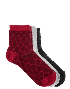 Image 3 ofASOS 3 Pack Multi Ankle Socks