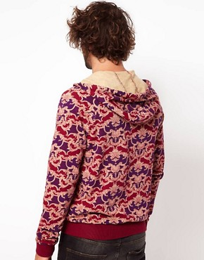 Image 2 ofASOS Zip Through Hoodie With Baroque Print