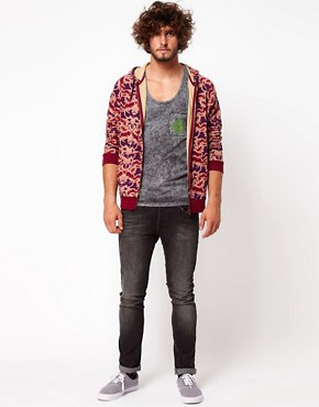 Image 4 ofASOS Zip Through Hoodie With Baroque Print