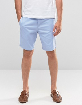 River Island Chino Shorts In Light Blue
