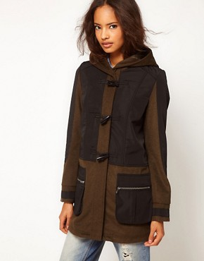 Image 1 ofASOS Nylon Mix Duffle Parka