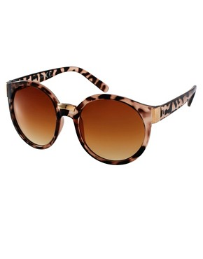 Image 1 ofASOS Round Sunglasses With Mixed Bridge Detail