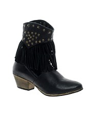 H by Hudson Cavalette 1 Black Fringe Cowboy Boot