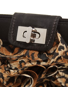 Image 2 ofASOS Leopard Chiffon Ruffle Clutch