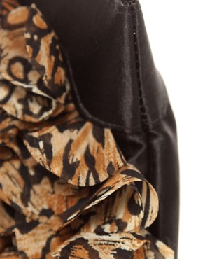 Image 4 ofASOS Leopard Chiffon Ruffle Clutch