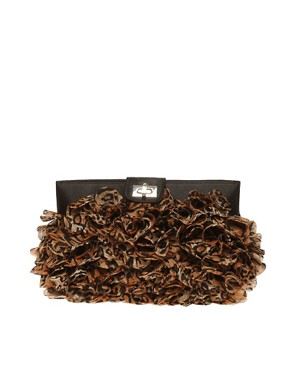 Image 1 ofASOS Leopard Chiffon Ruffle Clutch