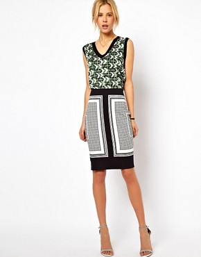 Image 1 ofASOS Pencil Skirt in Scarf Print