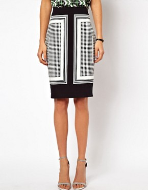 Image 4 ofASOS Pencil Skirt in Scarf Print