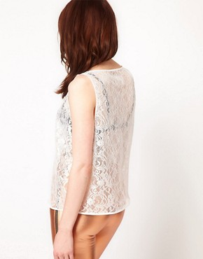 Image 2 ofAmerican Apparel Leaf Flower Lace Tank Top