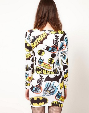 Image 2 ofLazy Oaf x Batman Exclusive Bodycon Dress In Logo Print