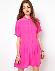 Equipment Naomi Silk Shirt Dress in Magenta