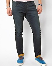 Solid Slim Fit Jeans with Contrast Turn-up