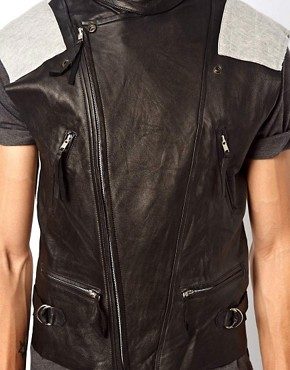 Image 3 ofHorace Leather Front Biker Gilet