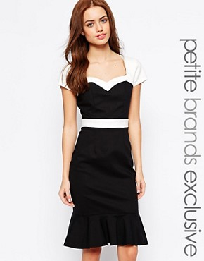 Paper Dolls Paper Dolls Petite Contrast Pep Hem Pencil Dress (Black)