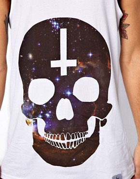 Image 3 ofAbandon Ship Vest with Universe Skull Print