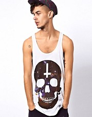 Abandon Ship Vest with Universe Skull Print