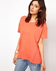 BZR Stephanie Linen T-Shirt with Draped Pocket Detail