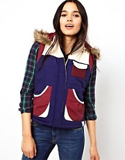 Bellfield Colour Block Gilet With Faux Fur Trimmed Hood