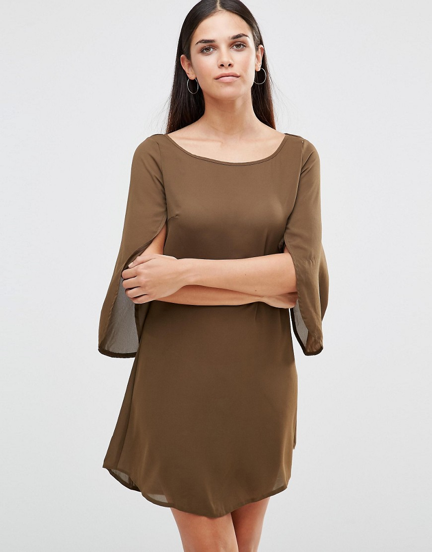 AX Paris Smock Dress With Angel Sleeves - Green