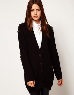 Image 1 ofASOS Cardigan With Studded Patches