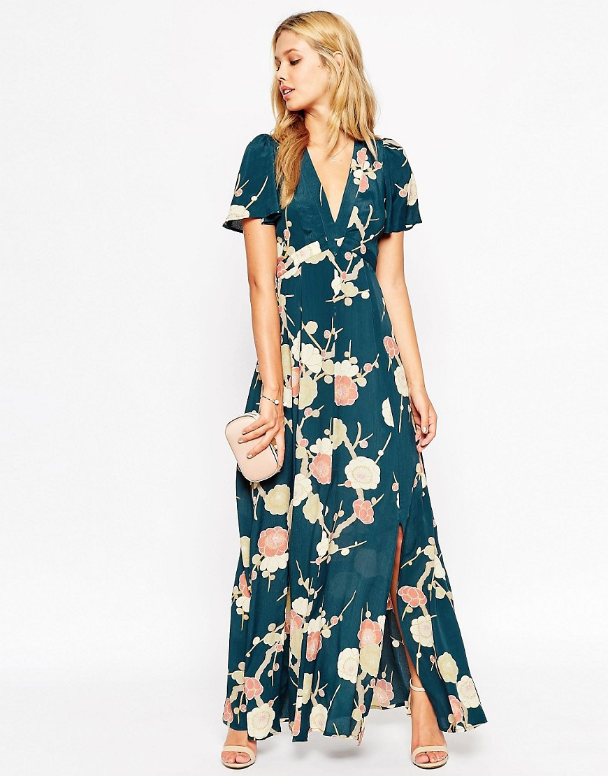 Asos asos wedding maxi dress with wrap front in floral for Robe fleurie asos