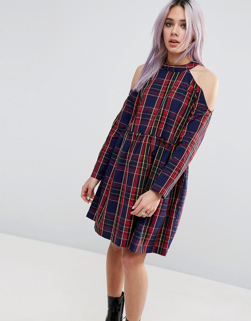 ASOS Cold Shoulder Cotton Check Smock Dress - Multi