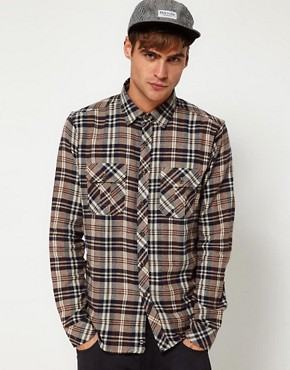 Image 1 of Solid Shirt with Flannel Check