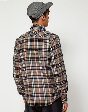 Image 2 of Solid Shirt with Flannel Check