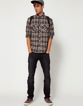 Image 4 of Solid Shirt with Flannel Check
