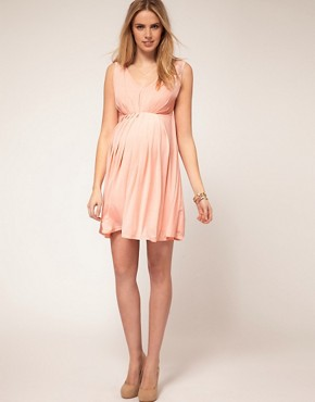 Image 4 ofASOS Maternity Exclusive Skater Dress With Goddess Pleat Detail