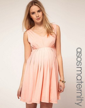 Image 1 ofASOS Maternity Exclusive Skater Dress With Goddess Pleat Detail