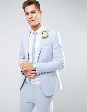 ASOS WEDDING Super Skinny Suit Jacket in Soft Blue
