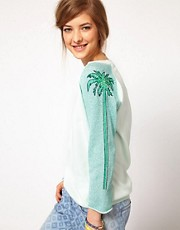Maison Scotch Jumper with Palm Tree Sleeves